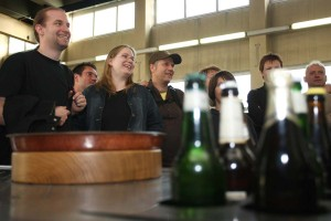 Participants of beer-tasting in the brewery museum